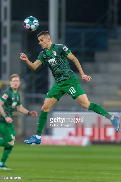 Laszlo Benes of FC Augsburg controls the Ball during the Bundesliga match between Sport-Club Freiburg and FC Augsburg at Schwarzwald-Stadion on March...
