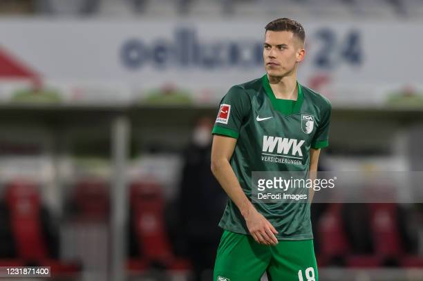 Laszlo Benes of FC Augsburg Looks on during the Bundesliga match between Sport-Club Freiburg and FC Augsburg at Schwarzwald-Stadion on March 21, 2021...