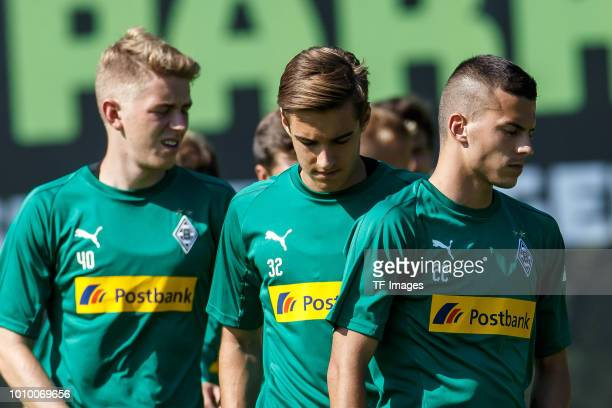 Laszlo Benes of Moenchengladbach and Florian Neuhaus of Moenchengladbach look on during the Borussia Moenchengladbach training camp on July 24 2018...