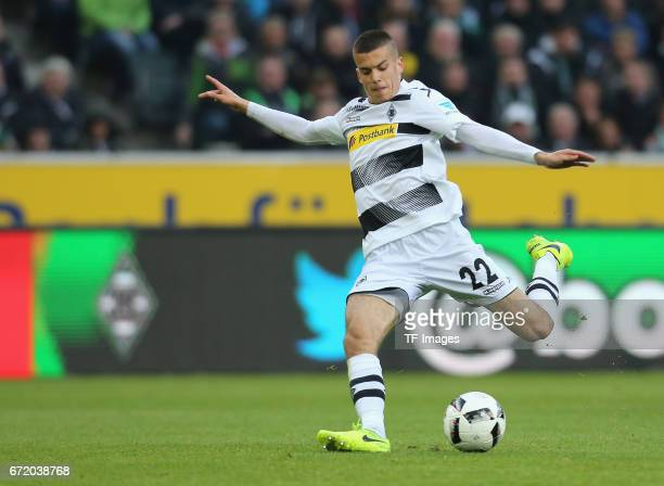 Laszlo Benes of Moenchengladbach controls the ball during the Bundesliga match between Borussia Moenchengladbach and Borussia Dortmund at...