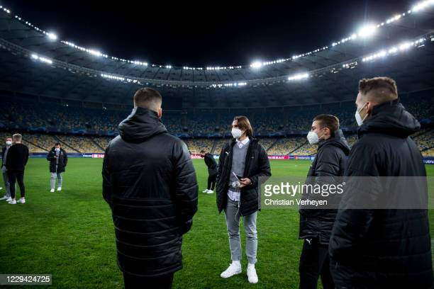 Laszlo Benes, Rocco Reitz, Yann Sommer and Hannes Wolf are seen during a site visit of Borussia Moenchengladbach ahead the Group B - UEFA Champions...