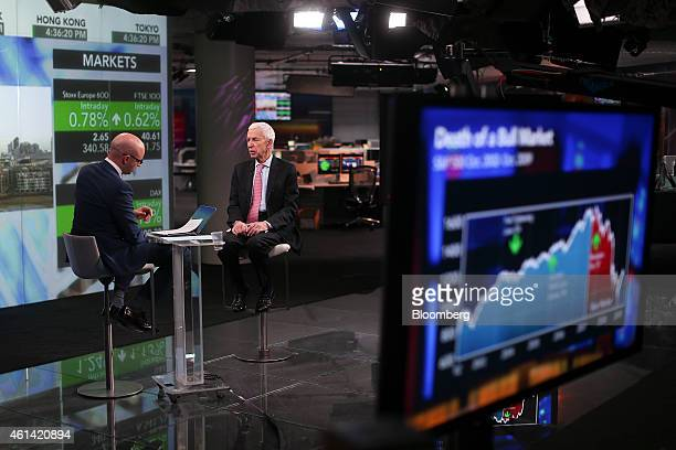 Laszlo Birinyi president of Birinyi Associates Inc right speaks during a Bloomberg Television interview in London UK on Monday Jan 12 2015 UK stocks...