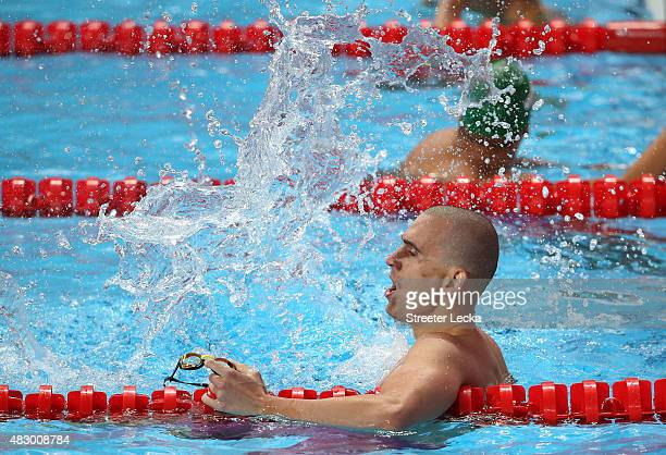 Laszlo Cseh of Hungary celebrates winning the gold medal in the Men's 200m Butterfly Final on day twelve of the 16th FINA World Championships at the...