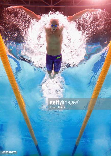 Laszlo Cseh of Hungary competes during the Men's 200m Butterfly semi final two on day twelve of the Budapest 2017 FINA World Championships on July 25...