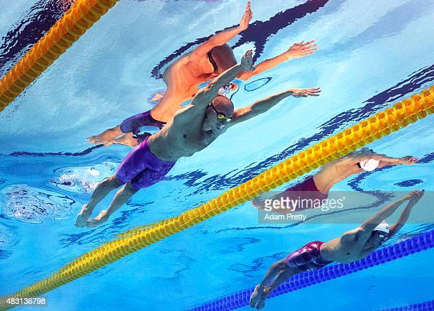 Laszlo Cseh of Hungary competes in the Men's 200m Butterfly Final on day twelve of the 16th FINA World Championships at the Kazan Arena on August 5...