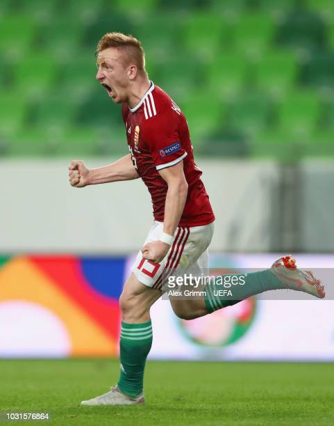 Laszlo Kleinheisler of Hungary celebrates after scoring his team's second goal during the UEFA Nations League C Group two match between Hungary and...