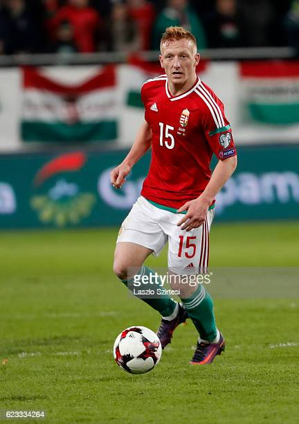 Laszlo Kleinheisler of Hungary controls the ball during the FIFA 2018 World Cup Qualifier match between Hungary and Andorra at Groupama Arena on...
