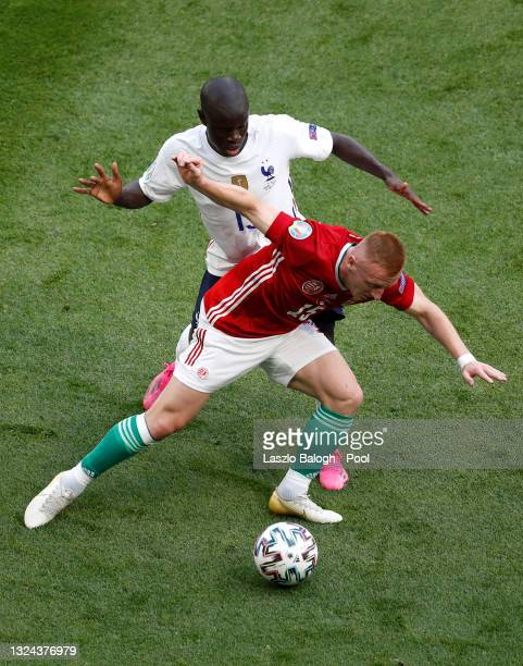 Laszlo Kleinheisler of Hungary is closed down by N'Golo Kante of France during the UEFA Euro 2020 Championship Group F match between Hungary and...