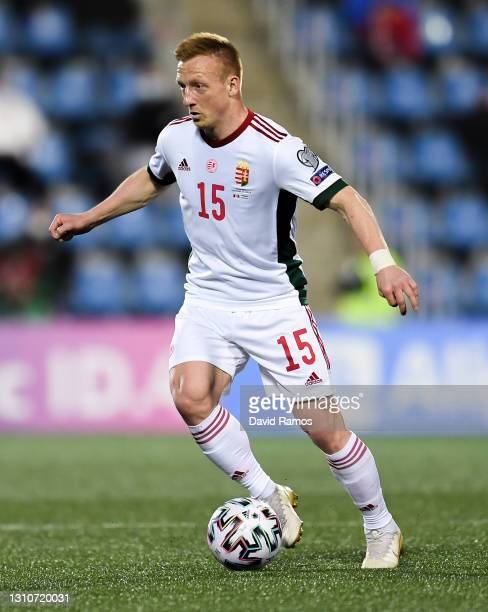 Laszlo Kleinheisler of Hungary runs with the ball during the FIFA World Cup 2022 Qatar qualifying match between Andorra and Hungary at Estadi...