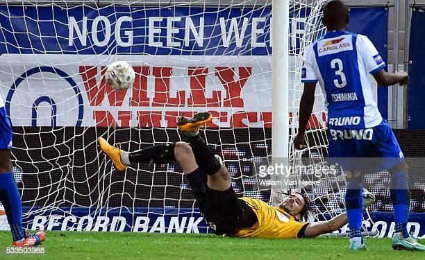 Laszlo Koteles Goalkeeper of Krc Genk Theo Bongonda of SV Zulte Waregem scores during the Jupiler Pro League match between Zulte Waregem and Krc Genk...