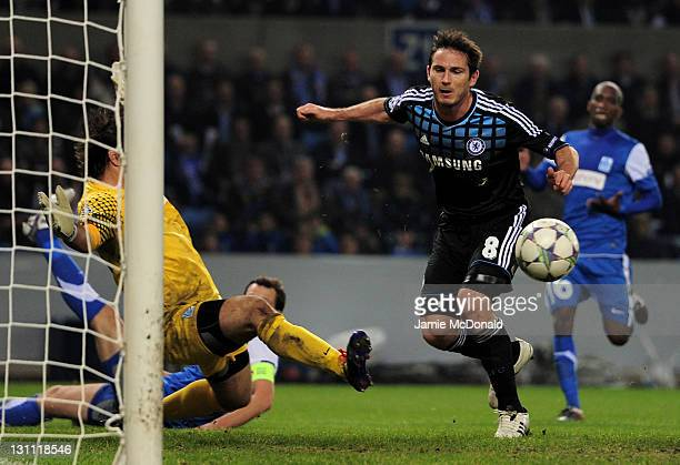 Laszlo Koteles of KRC Genk blocks the attempt on goal of Frank Lampard of Chelsea during the UEFA Champions League Group E match between KRC Genk and...