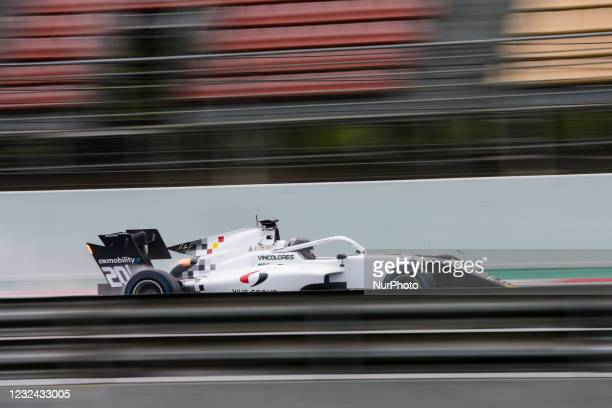 Laszlo Toth from Hungary of Campos Racing, action during Day One of Formula 3 Testing at Circuit de Barcelona - Catalunya on April 21, 2021 in...