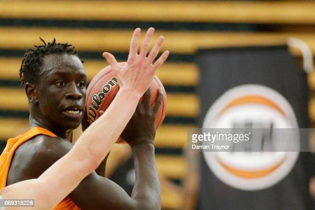 Lat Mayen looks tp pass during the NBL Combine 2017/18 at Melbourne Sports and Aquatic Centre on April 17 2017 in Melbourne Australia