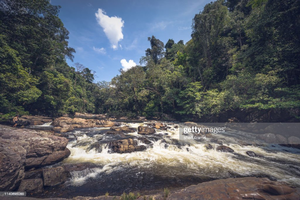Lata Berkoh or Berkoh Waterfall in the Kuala Tahan National Park (Taman Negara) in Pahang, Malaysia. : Stock Photo