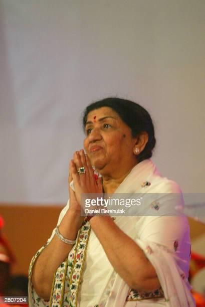 Lata Mangeshkar waits to receive her Inspiration award during the Inaugural MTV IMMIES at the Goregaon Sports Club December 12 2003 in Mumbai India