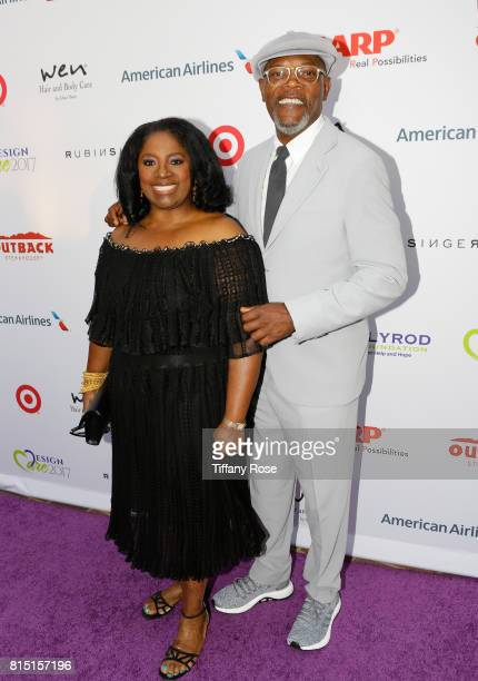 LaTanya Richardson and actor Samuel L Jackson at HollyRod Foundation's DesignCare Gala on July 15 2017 in Pacific Palisades California
