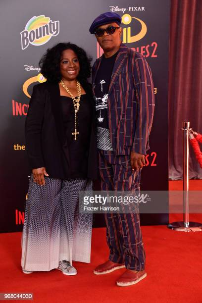 LaTanya Richardson and Samuel L Jackson attend the premiere of Disney and Pixar's 'Incredibles 2' at the El Capitan Theatre on June 5 2018 in Los...