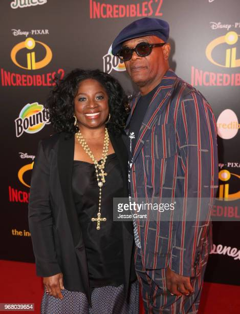 LaTanya Richardson and Samuel L Jackson attend the World Premiere Of DisneyPixar's 'Incredibles 2' at El Capitan Theatre on June 5 2018 in Los...