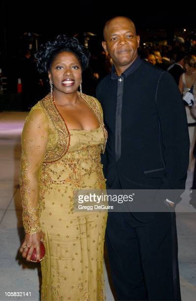 LaTanya Richardson and Samuel L Jackson during 2005 Vanity Fair Oscar Party Arrivals at Mortons in Los Angeles California United States
