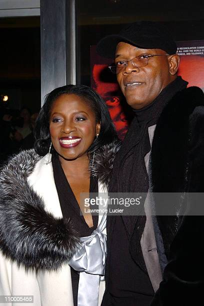 LaTanya Richardson and Samuel L Jackson during In My Country New York City Premiere Arrivals at Beekman Theater in New York City New York United...