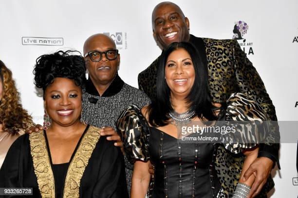 LaTanya Richardson Samuel L Jackson Magic Johnson and Earlitha Kelly attend WACO Theater's 2nd Annual Wearable Art Gala on March 17 2018 in Los...