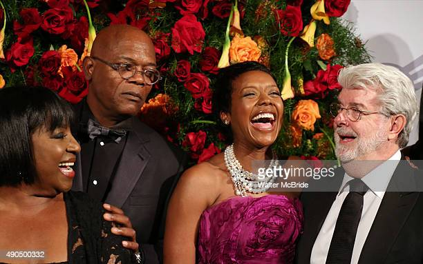 LaTanya Richardson Samuel L Jackson Mellody Hobson and George Lucas attend the American Theatre Wing honors James Earl Jones at the Plaza Hotel on...