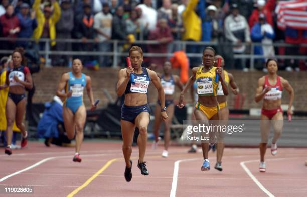 LaTasha Colander anchors United States Red women's 4 x 100meter relay to victory in 4268 in the USA vs The World competition in the111th Penn Relays...