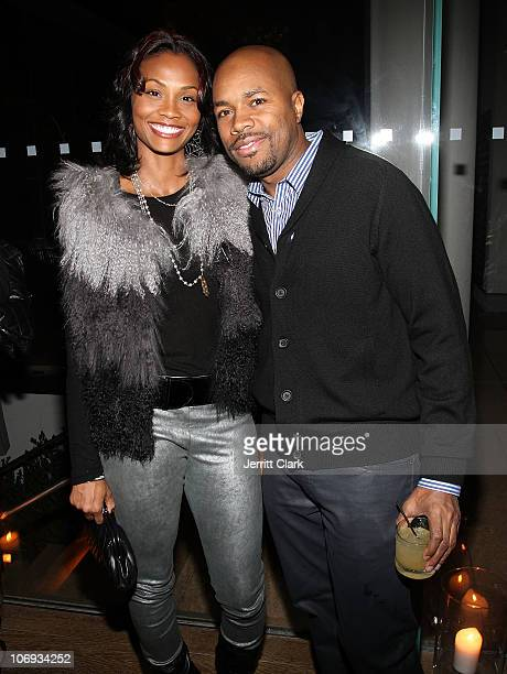 Latasha Marbury and DJ DNice attend a Hennessey Black party to celebrate DJ DNice signing to Roc Nation DJ's at The Cooper Square Hotel on November...