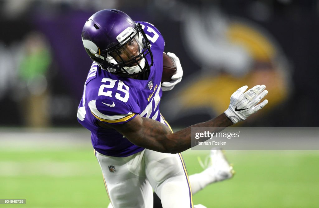 Latavius Murray #25 of the Minnesota Vikings carries the ball in the first quarter of the NFC Divisional Playoff game against the New Orleans Saints on January 14, 2018 at U.S. Bank Stadium in Minneapolis, Minnesota.