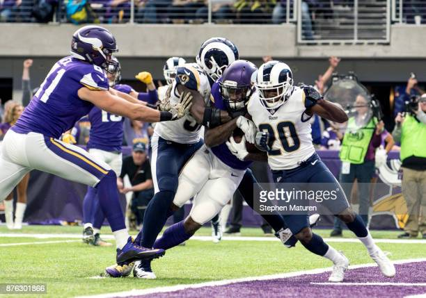 Latavius Murray of the Minnesota Vikings carries the ball into the end zone for a touchdown in the second quarter of the game against the Los Angeles...