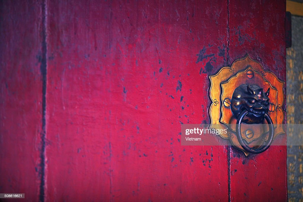 Latches red gate : Stock Photo