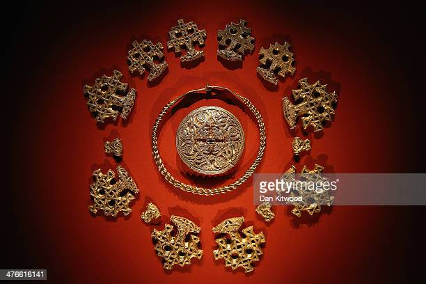 Late 10th century Gold pendant, brooch and neck piece are displayed during the press preview of the 'Vikings, Life and Legend' Exhibition at the...