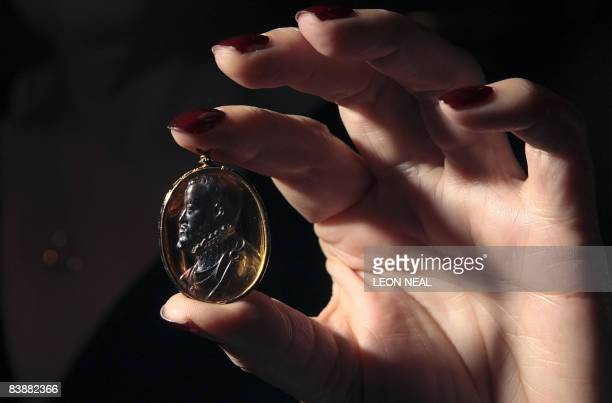 Late 16th century citrine cameo of King Philip II of Spain, one of the greatest patrons of Renaissance art, is displayed at Bonham's auction house in...