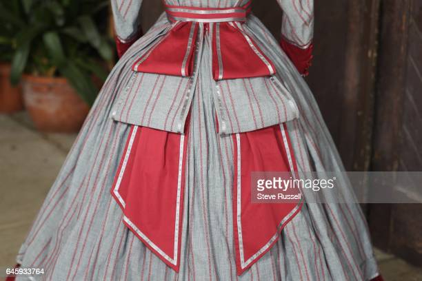 TORONTO ON SEPTEMBER 21 Late 1860's Visiting Dress worn at Colborne Lodge The design is inspired by a fashion plate from Godey's Lady Book dated 1869...
