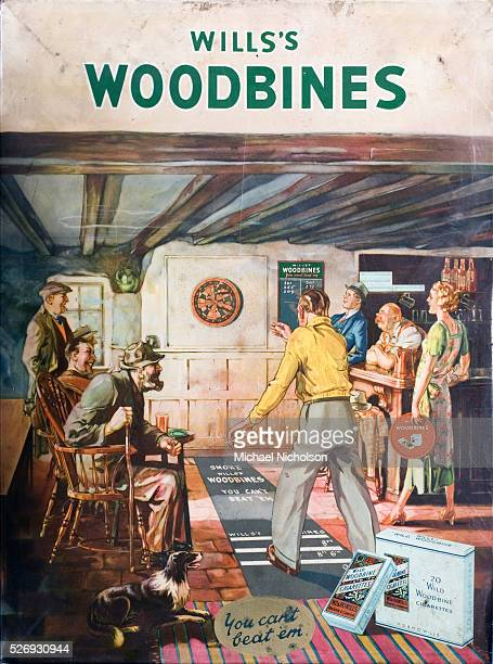 Late 1930s metal poster for Wills's Woodbine cigarettes You can't beat 'em Shows a cheerful pub wood panelled and timber beamed pub scene A game of...