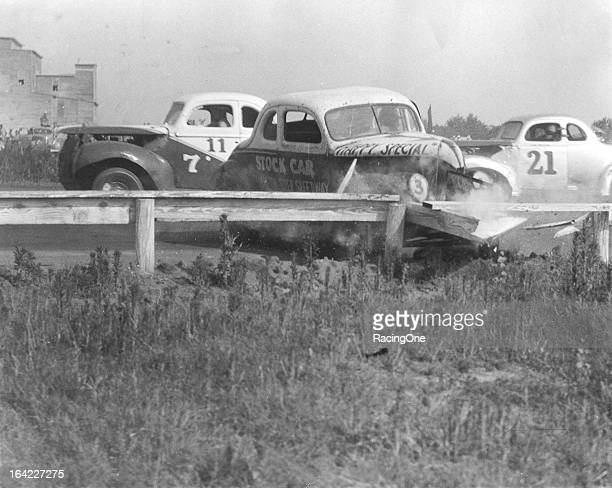 Billy Carden spins his Modified stock car into the inside fence during a late1940s race at Macon Fairgrounds Speedway The track operated as a...