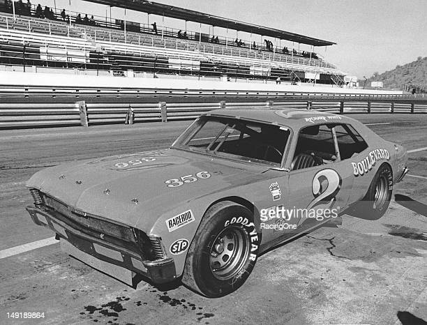 Richard White's Chevrolet Nova NASCAR Late Model Sportsman car rests on pit road prior to a race at Phoenix International Raceway White of Escondido...