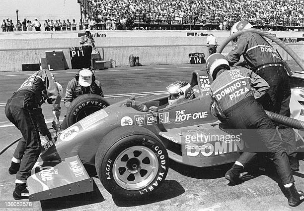 Raul Boesel makes a pit stop during a CART Indy Car race Boesel drove Dominos Pizzasponsored cars for owner Doug Shierson in 1988 and 1989