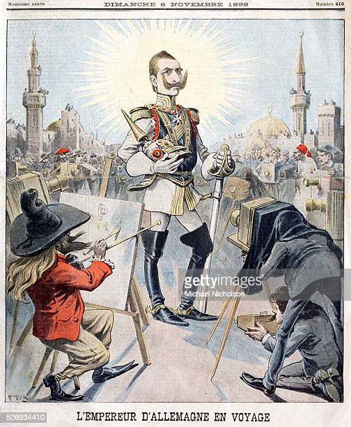 Late 19th century French cartoon of The German Emperor Kaiser Wilhelm II pictured in all his glory on a visit to Constantinope in 1898 He is being...