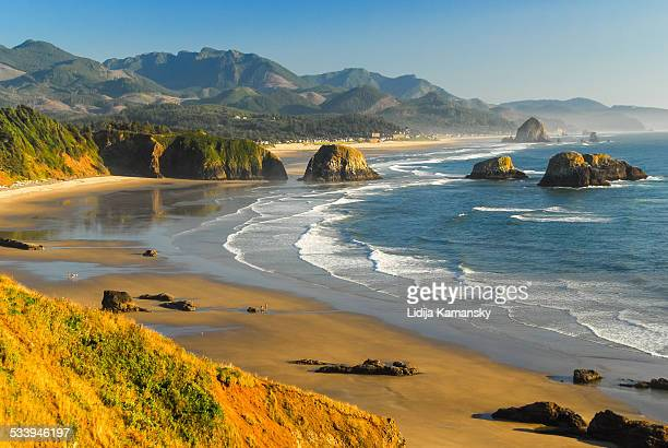 late afternoon at crescent beach - oregon coast stock pictures, royalty-free photos & images