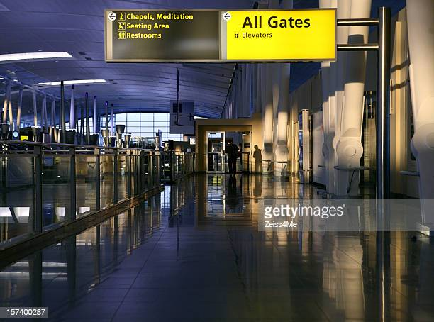 late afternoon in airport terminal - chapel stock pictures, royalty-free photos & images