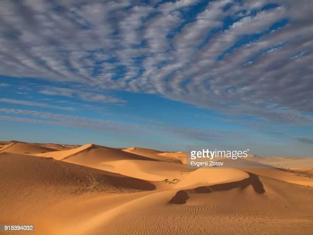 late afternoon landscape of sahara desert dunes above dramatic sky. adrar region in mauritania - áfrica del oeste fotografías e imágenes de stock