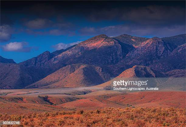 Late afternoon light sweeps across the Flinders Ranges national park, South Australia.