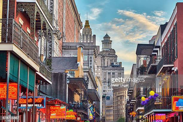 late afternoon on bourbon street,french quarter - new orleans french quarter stock photos and pictures