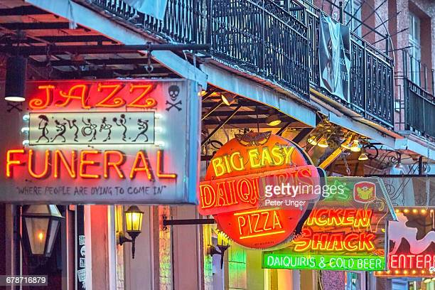 late afternoon on bourbon street,french quarter - new orleans stock pictures, royalty-free photos & images