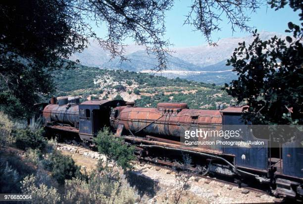 A late afternoon picture at the Acladokampos Locomotive dumo in the south of the Peloponnese Greek on Friday 6 August 1982 with right Breda 282...