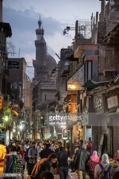 late afternoon picture of al moaz street in cairo, egypt - kairo stock-fotos und bilder