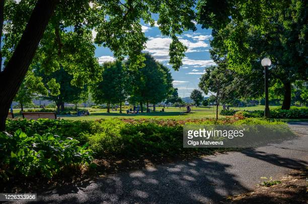 late afternoon shadows in the park in downtown ottawa, canada, near the parliament building - ottawa stock pictures, royalty-free photos & images