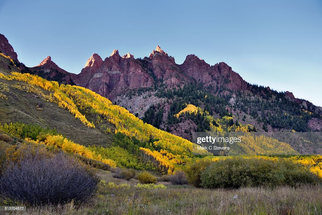 Late Afternoon Sunlight on the Peaks of Sievers Mountain : Stock Photo