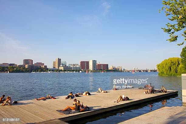 Late afternoon sunning on pier at Boston river